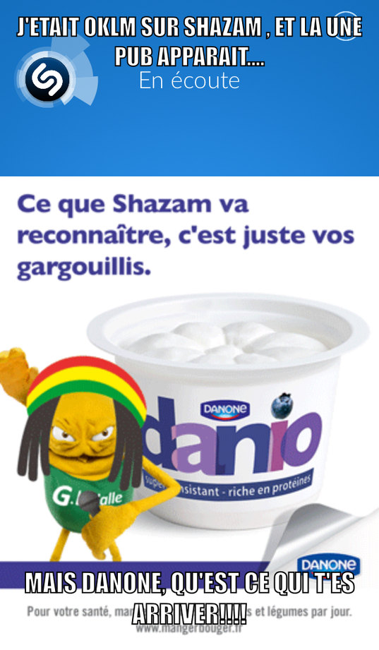 Ce que Shazam va reconnaître , c'est juste vos gargouillis ....#rastapsychopate - meme