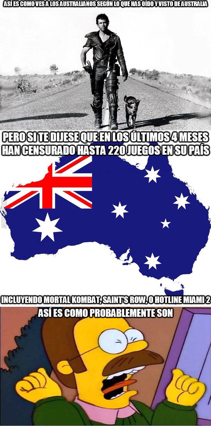 Esos australianos son unos loquillos - meme