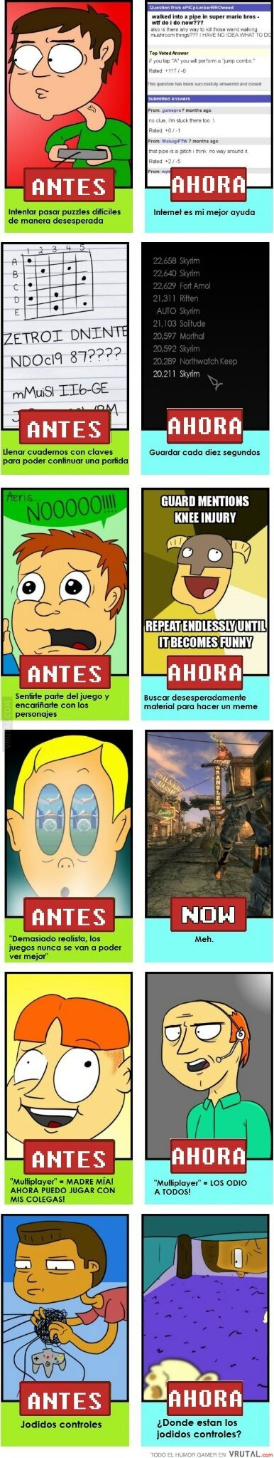 Antes y después de los videojuegos - meme