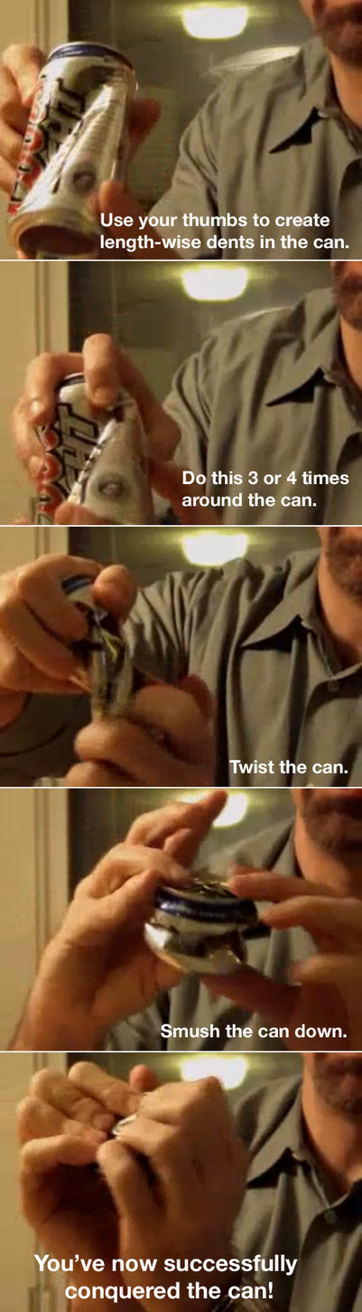 How to crush a beer can - meme