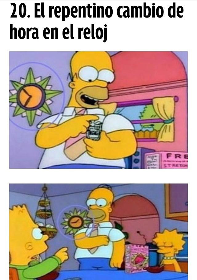 Errores en Los Simpson - meme