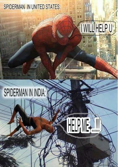 Neighbourhood isn't friendly for spiderman in India - meme