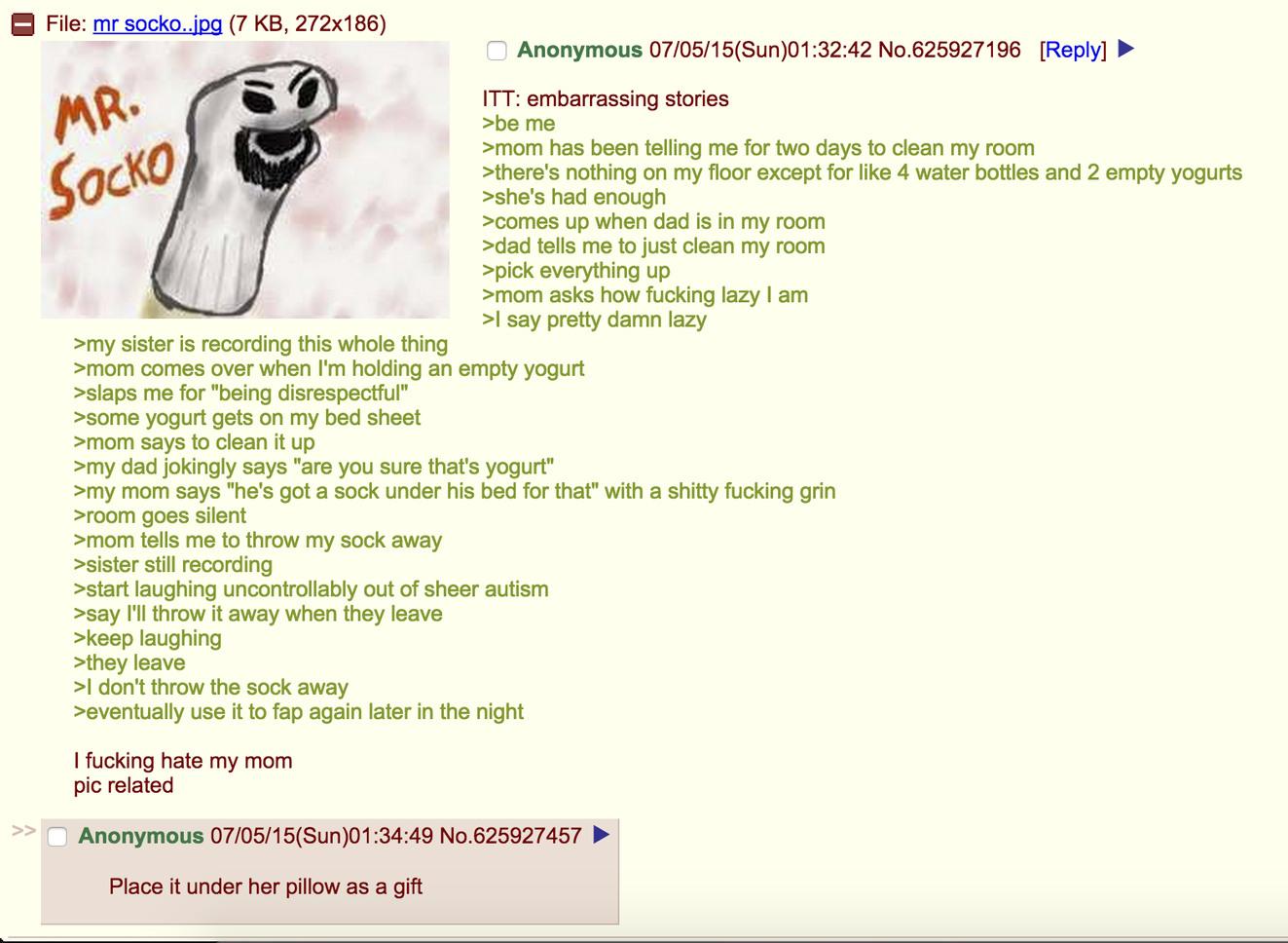 Tl:dr mom finds masturbation sock - meme