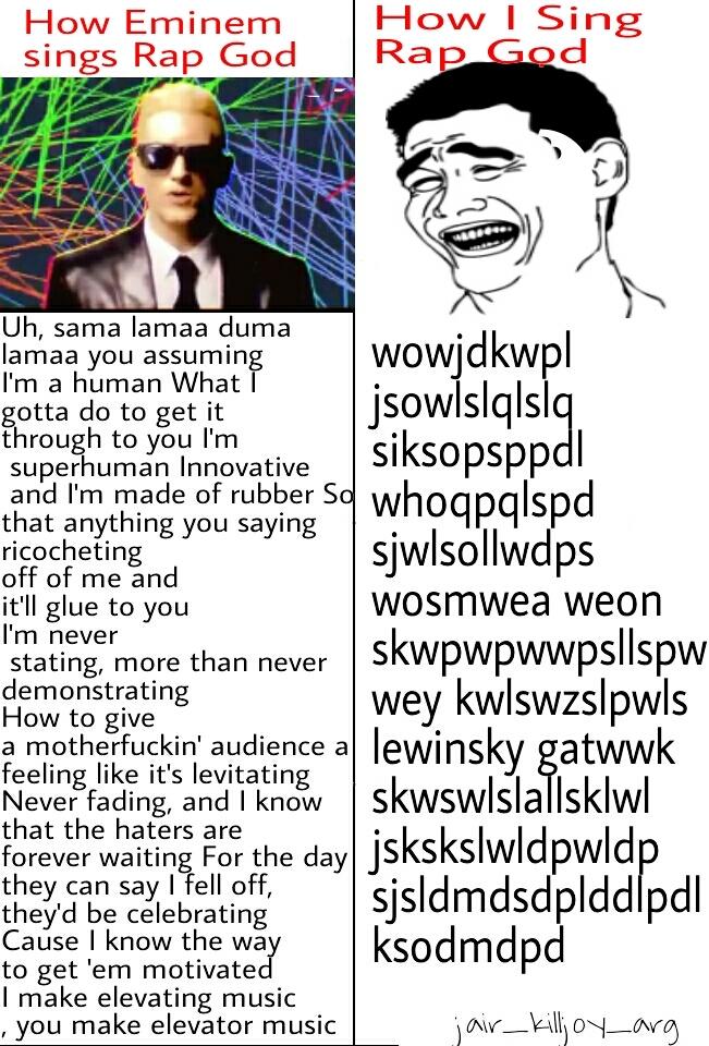 Rap God by Eminem is just impossible - meme