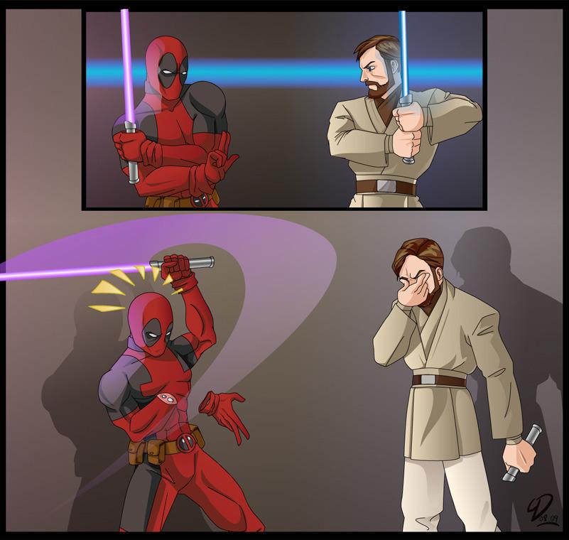 Dadpool manejando su primera espada laser - meme