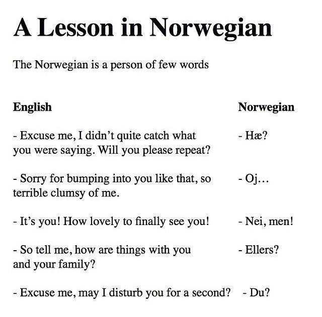 Norwegian in a nutshell - meme
