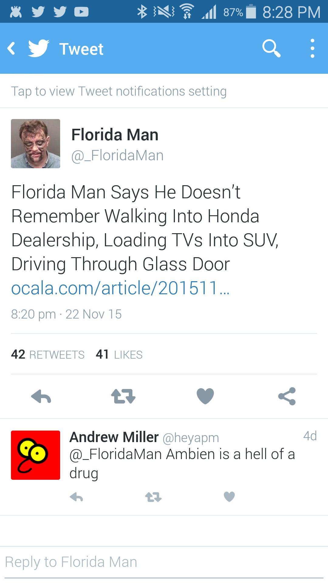 3rd  comment is Florida man - meme