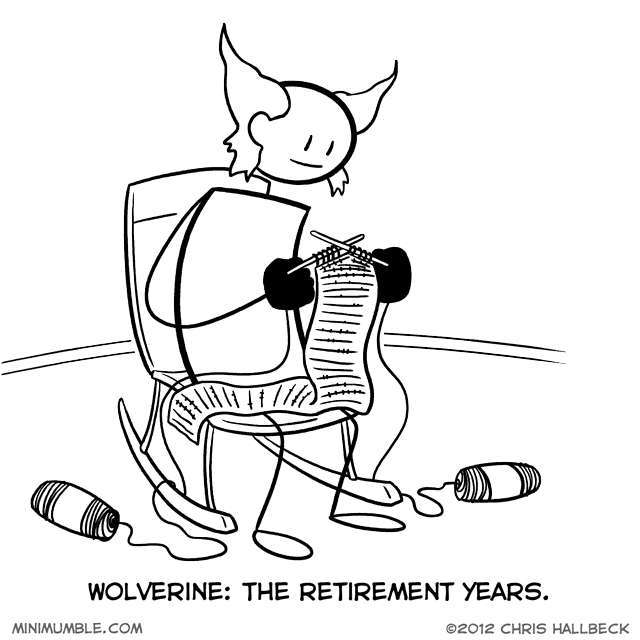 Wolverine likes to knit - meme