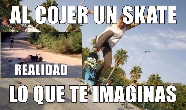 al cojer un skate - meme
