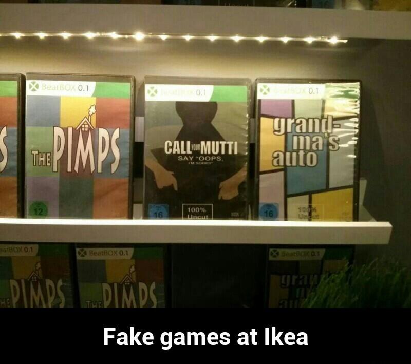Fake games at ikea - meme