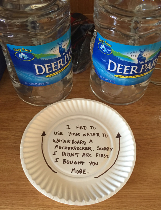Left this for my roommate after using his water - meme