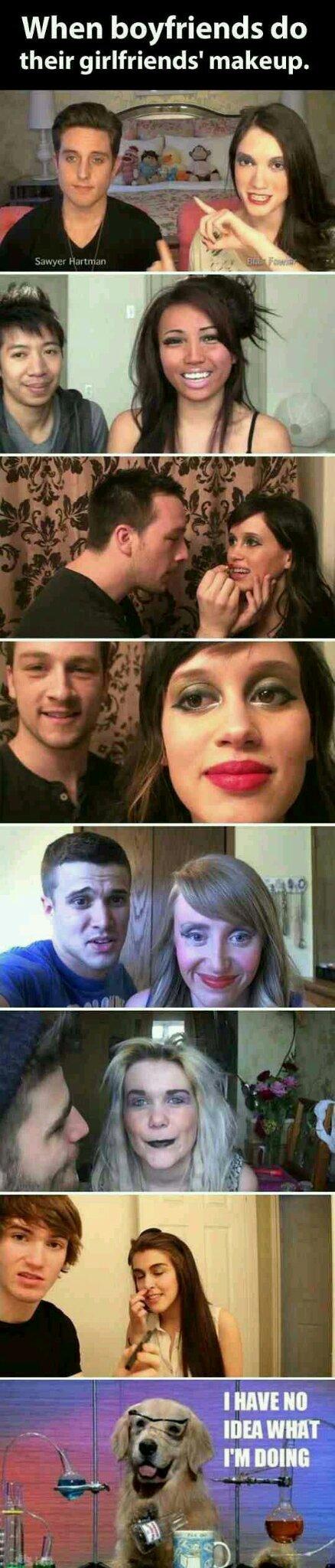 Men doing makeup - meme