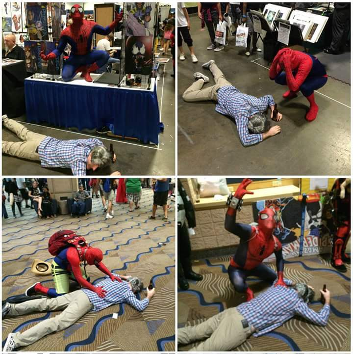 "This guy dressed as ""Drunk Uncle Ben"" at Comic Con. His goal was to pass out and die in front of as many Spidies as possible. - meme"