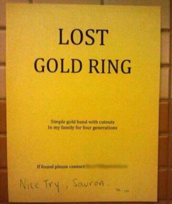 -perdu, anneau en or -bien essayé Sauron - meme