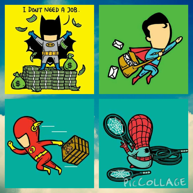 If superheroes had part time job - meme