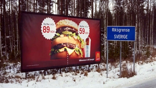 On the border between Norway and Sweden. - meme