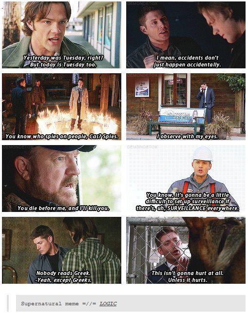 Logic of supernatural is logical - meme