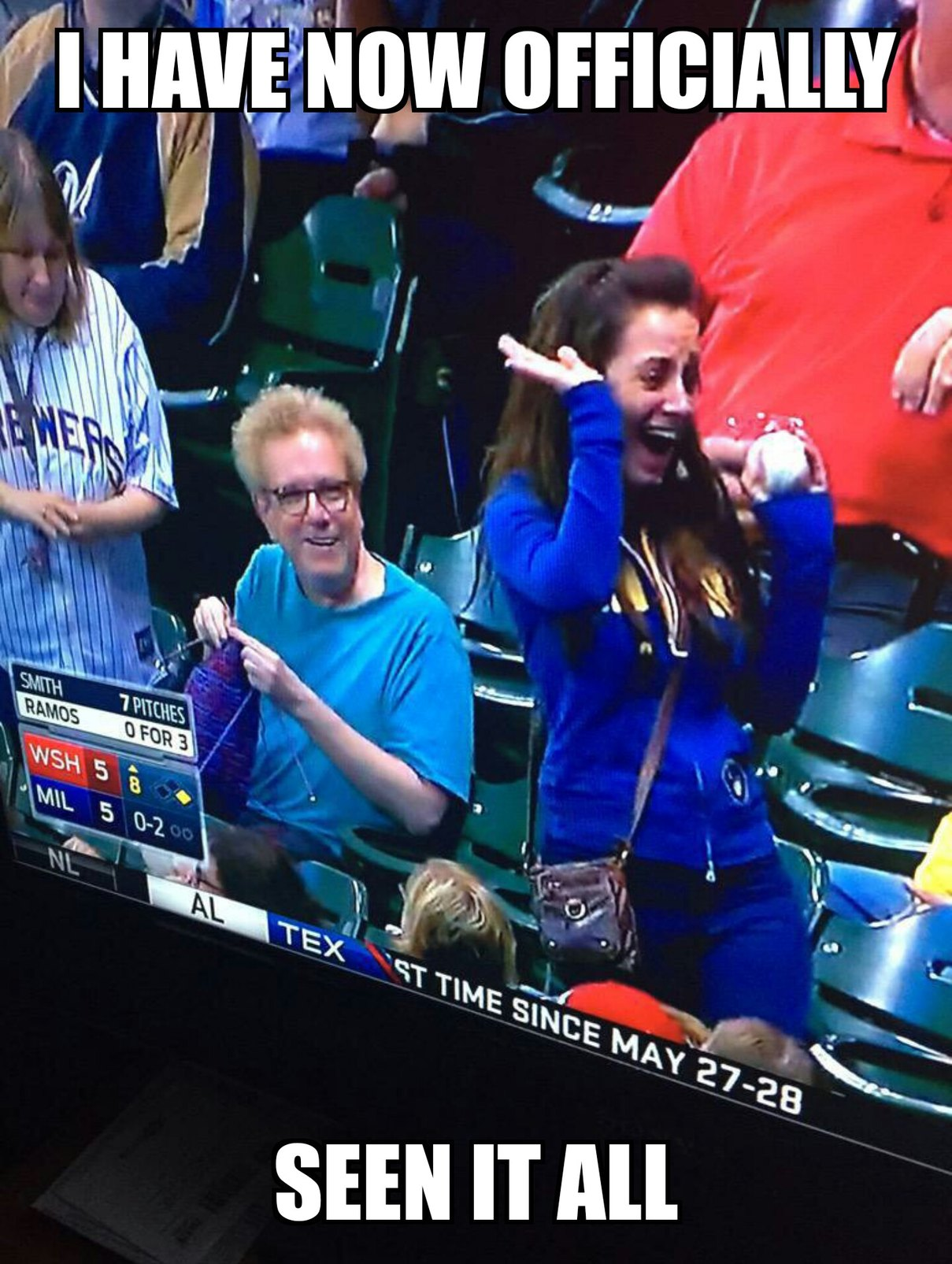 Guy knitting at an MLB game, my life is now complete - meme