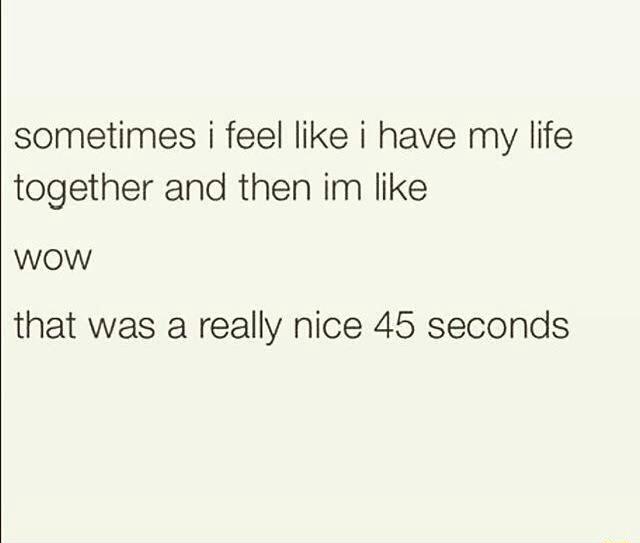 T'was a nice feeling 45 seconds. - meme