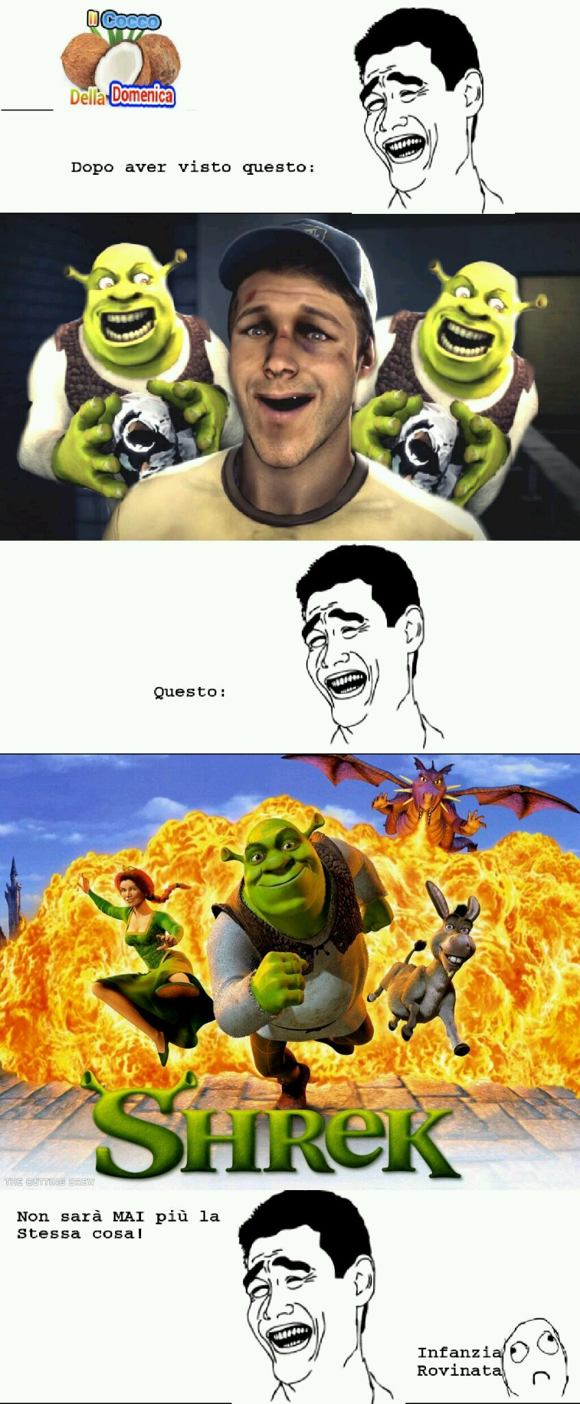 "Andatevi a vedere ""Shrek é amore, Shrek é vita"" sul tubo per capire~ Cito mattiamarmolaro, GekoITA and bastah - meme"