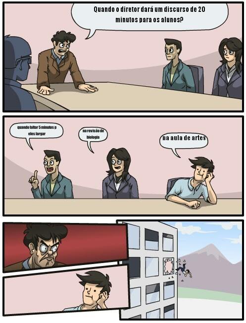 O Título foi discursar para os alunos - meme