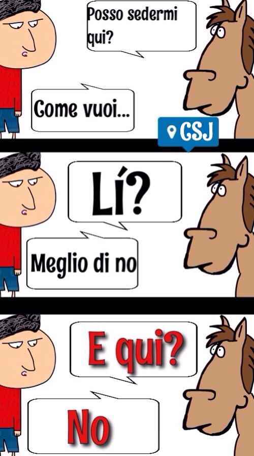 E qui no-> Equino, gli equini sono i cavalli e quindi? - meme