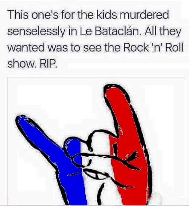 Thoughts are with Paris, and all those fans at the EODM gig - meme