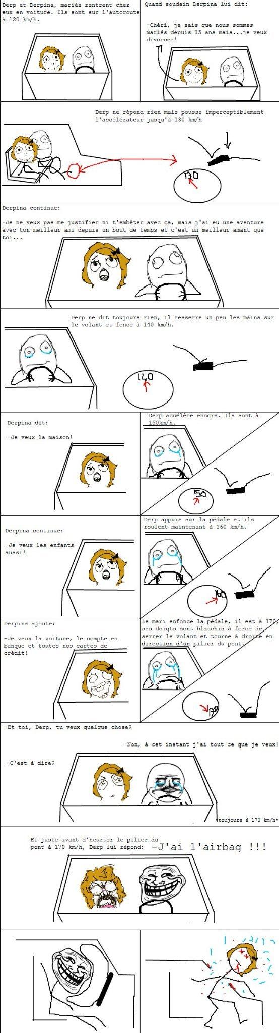 Rupture amoureuse en voiture un de mes meilleurs ragecomic:) - meme