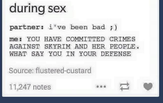 YOU HAVE COMMITTED CRIMES AGAINST SKYRIM - meme