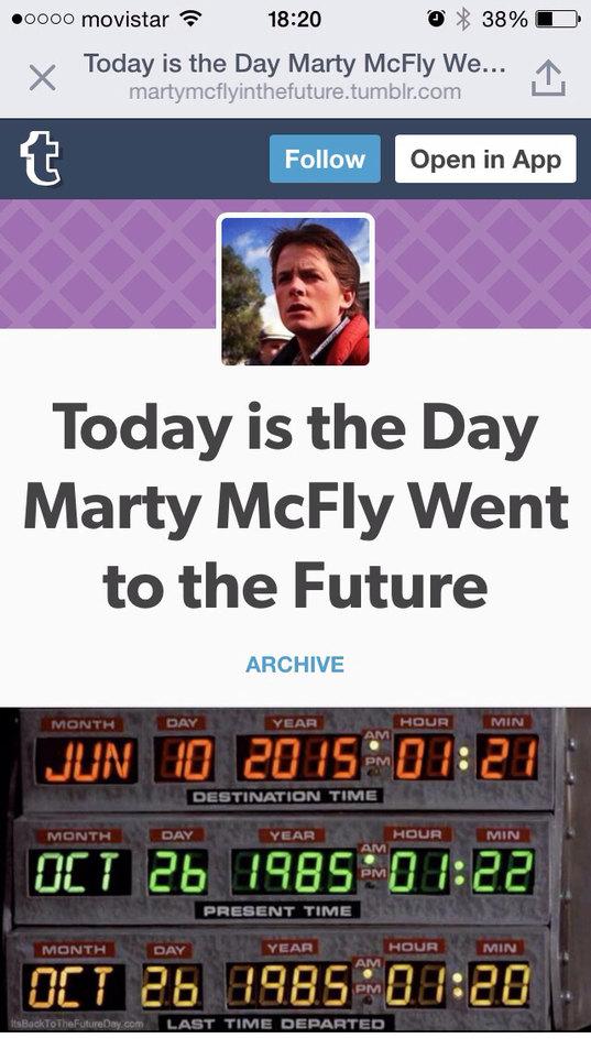 Hoy es el día en el que Marty McFly viajaba al futuro OMG - meme