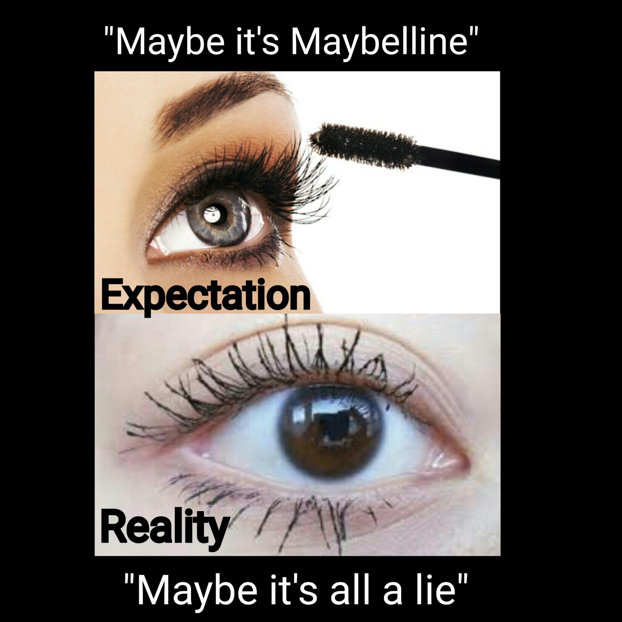 *shiver * hate clumpy eyelashes - meme