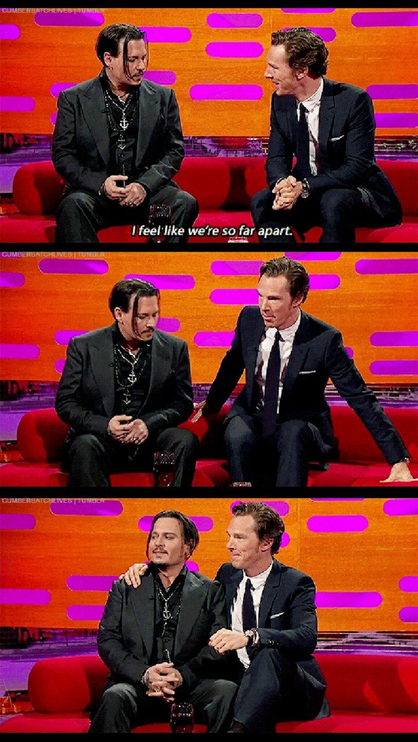 Cumberbatch and Depp at the Graham Norton Show - meme