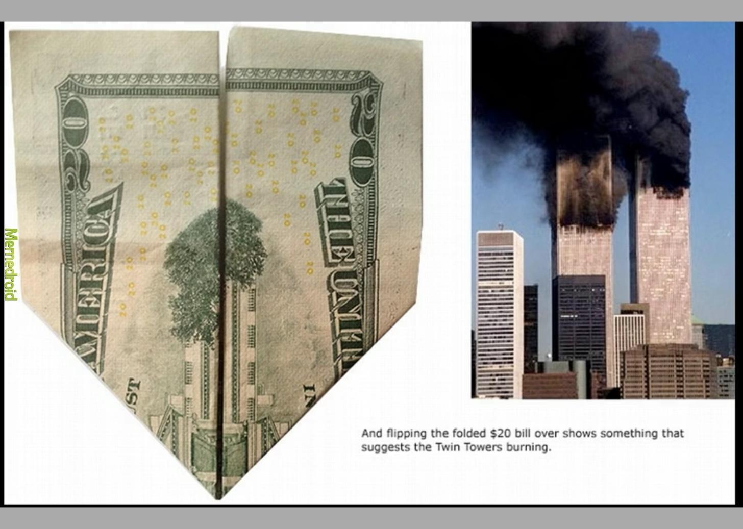 torres gemeas na nota de 20 dolares - meme
