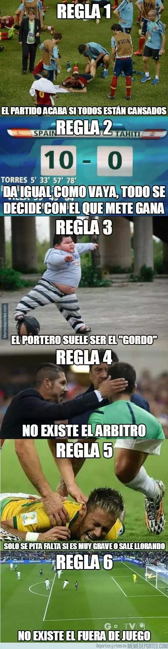 Reglas del futbol callejero - meme