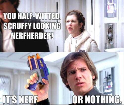 The title bought a nerf gun for han - meme