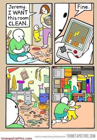 vantagem de jogar tetris - meme