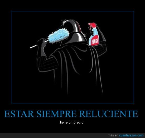 Estar limpio es un reto para Darth Vader - meme