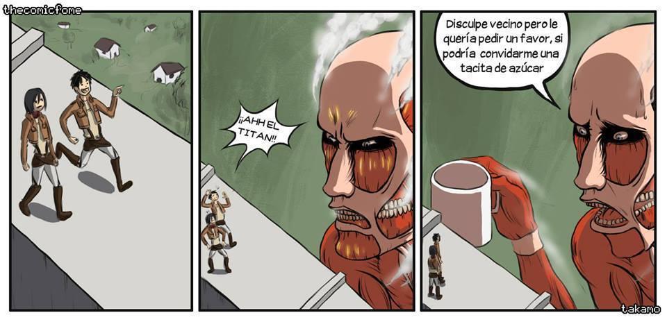 El titán solo buscaba hospitalidad :c - meme
