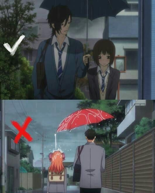 como llevar un paraguas cuando vas con alguien - meme