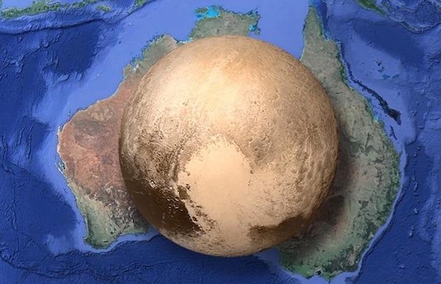 Plutón en comparación con Australia - meme