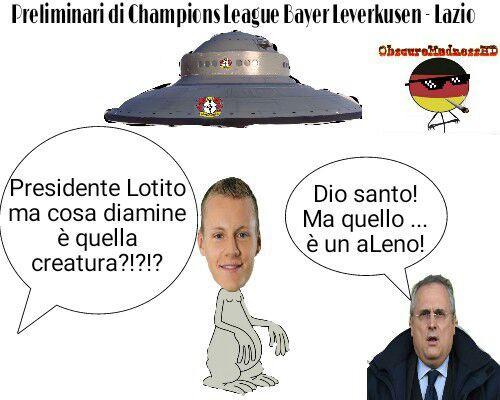 PRIMA DI DOWNVOTARE  (SE NON CAPITE LA BATTUTA) LEGGERE IL TITOLO: Leno è un portiere del Bayer Leverkusen(il quale stemma si trova sull'Ufo) ed il suo nome si pronucia Lieno. Lotito invece è il presidente della Lazio - meme