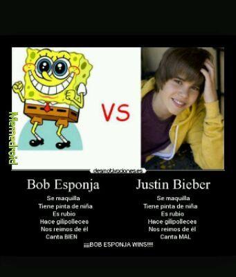 Bob esponja vs Justin Bieber - meme