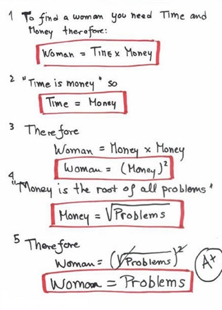 And money is the root of all evil so women= problems AND evil - meme