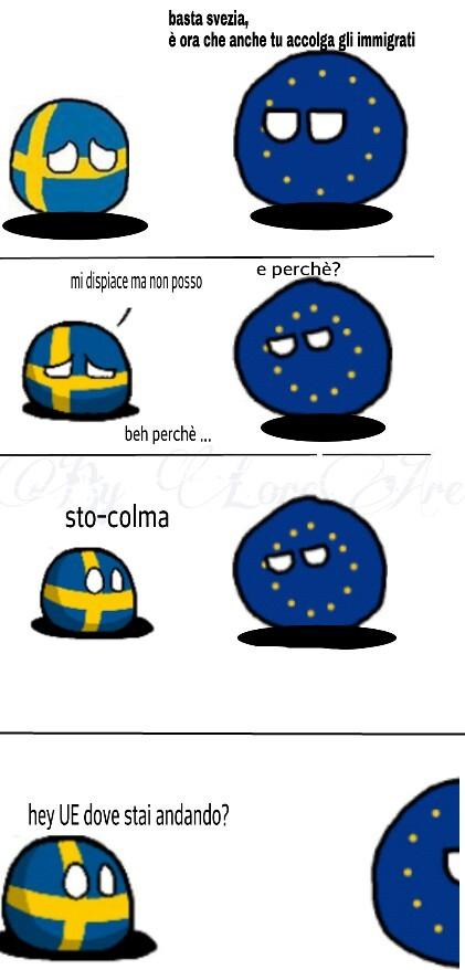 """Spero non sia repost. Comunque Stoccolma è la capitale della Svezia ma """"colmo"""" vuol dire Anche """"pieno"""" - meme"""