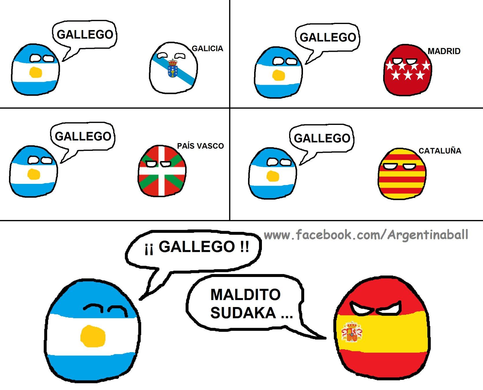 saludos amigos españoles y argentinos - meme