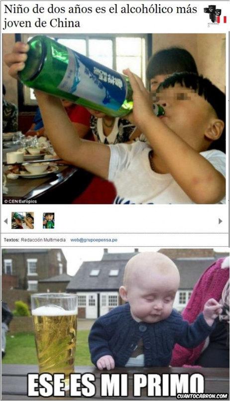 Bebes alcohólicos - meme