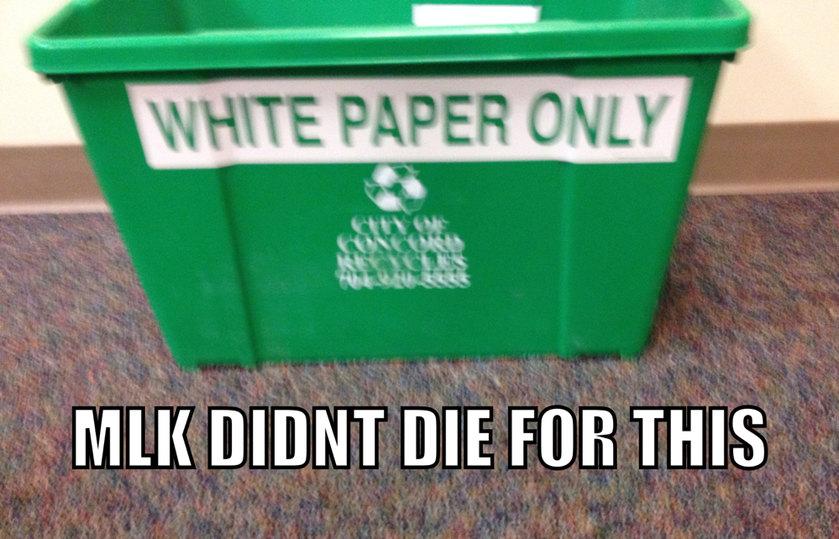 Racist Recycling Bin - meme