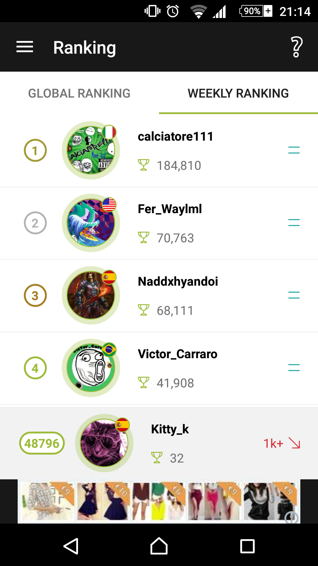 The latest beta of memedroid includes a weekly ranking
