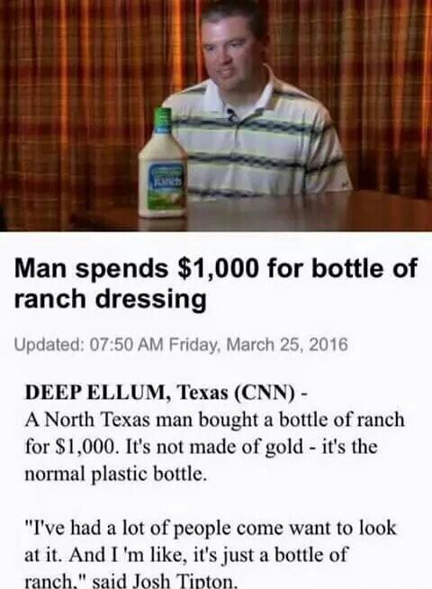 Better be some amazing ranch - meme