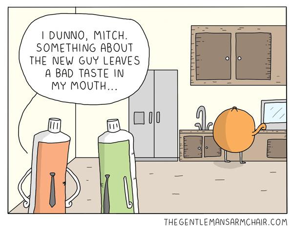 oranges taste great after brushing - meme